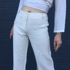 *Max Mara* Weekend Cream Linen Mid-Rise Trousers